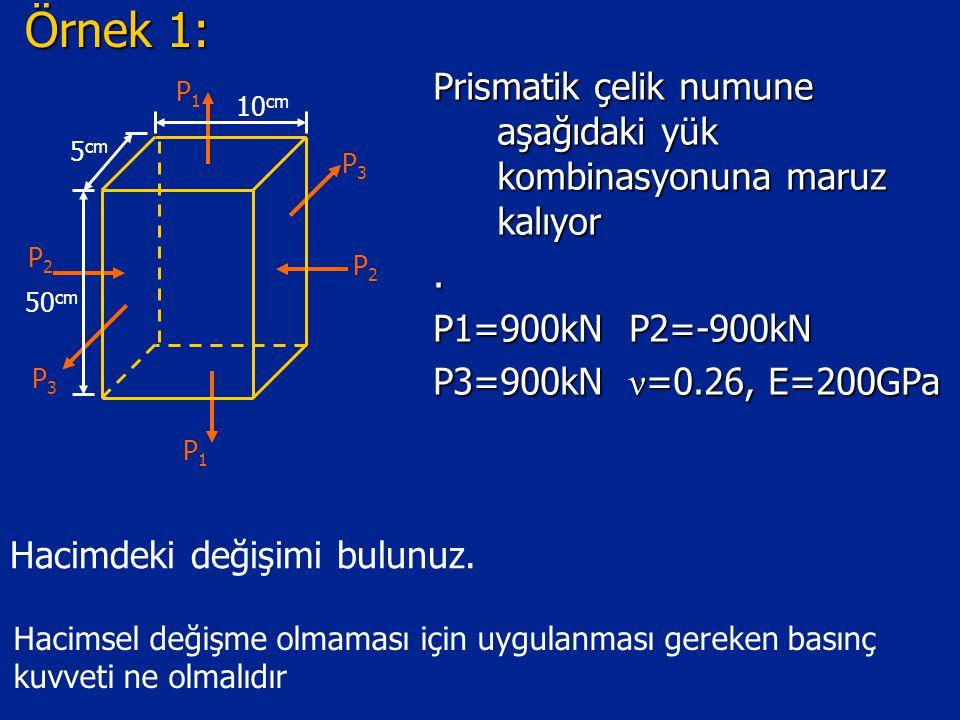 Örnek 1: Prismatik çelik numune aşağıdaki yük kombinasyonuna maruz kalıyor. P1=900kN P2=-900kN P3=900kN ν =0.26, E=200GPa P2P2 P2P2 P3P3 P3P3 P1P1 P1P