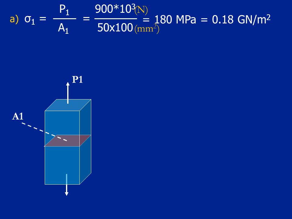 a) σ 1 = 50x100 = 900*10 3 A1A1 P1P1 = 180 MPa = 0.18 GN/m 2 P1 A1 (N) (mm 2 )