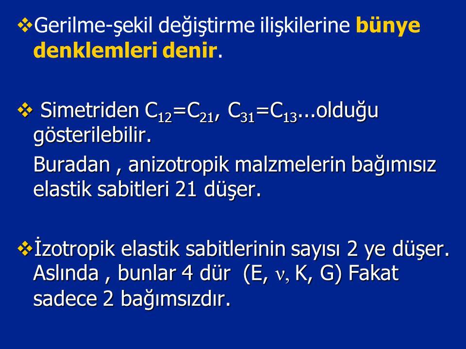   Gerilme-şekil değiştirme ilişkilerine bünye denklemleri denir.  Simetriden C 12 =C 21, C 31 =C 13...olduğu gösterilebilir. Buradan, anizotropik m