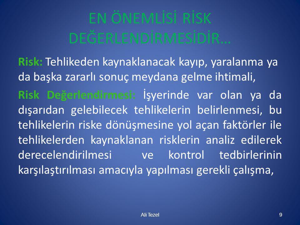 EN ÖNEMLİSİ RİSK DEĞERLENDİRMESİDİR… Risk: Tehlikeden kaynaklanacak kayıp, yaralanma ya da başka zararlı sonuç meydana gelme ihtimali, Risk Değerlendi