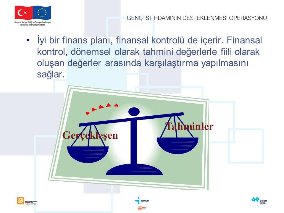 •İyi bir finans planı, finansal kontrolü de içerir.