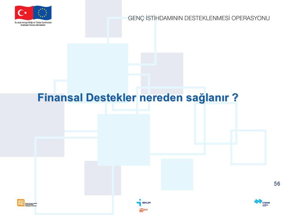 Finansal Destekler nereden sağlanır ? 56