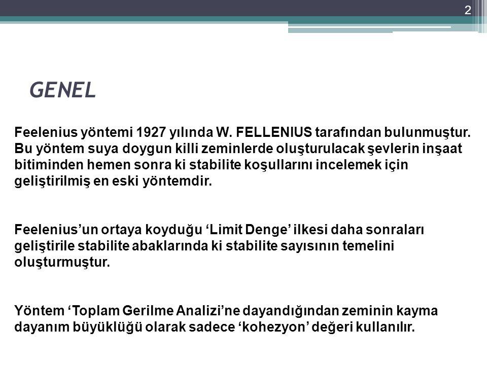 GENEL 2 Feelenius yöntemi 1927 yılında W. FELLENIUS tarafından bulunmuştur. Bu yöntem suya doygun killi zeminlerde oluşturulacak şevlerin inşaat bitim