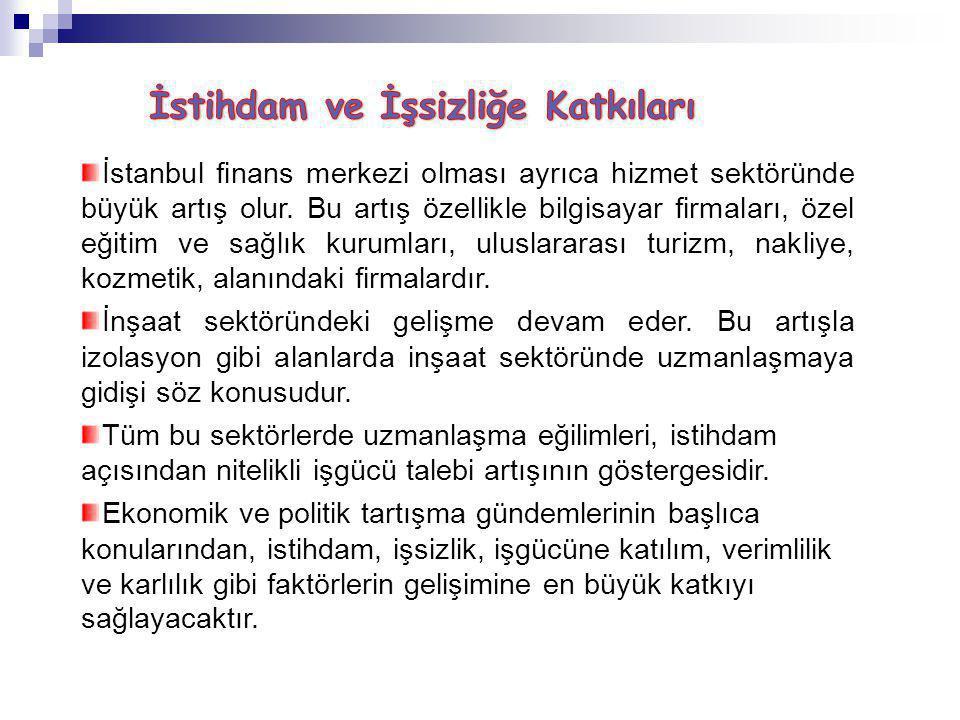 İstanbul finans merkezi olması ayrıca hizmet sektöründe büyük artış olur.