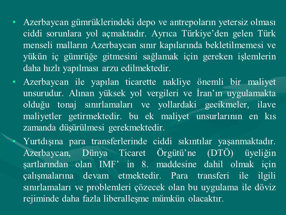 • •Azerbaycan gümrüklerindeki depo ve antrepoların yetersiz olması ciddi sorunlara yol açmaktadır. Ayrıca Türkiye'den gelen Türk menseli malların Azer