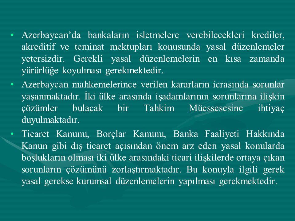 • •Azerbaycan'da bankaların isletmelere verebilecekleri krediler, akreditif ve teminat mektupları konusunda yasal düzenlemeler yetersizdir. Gerekli ya