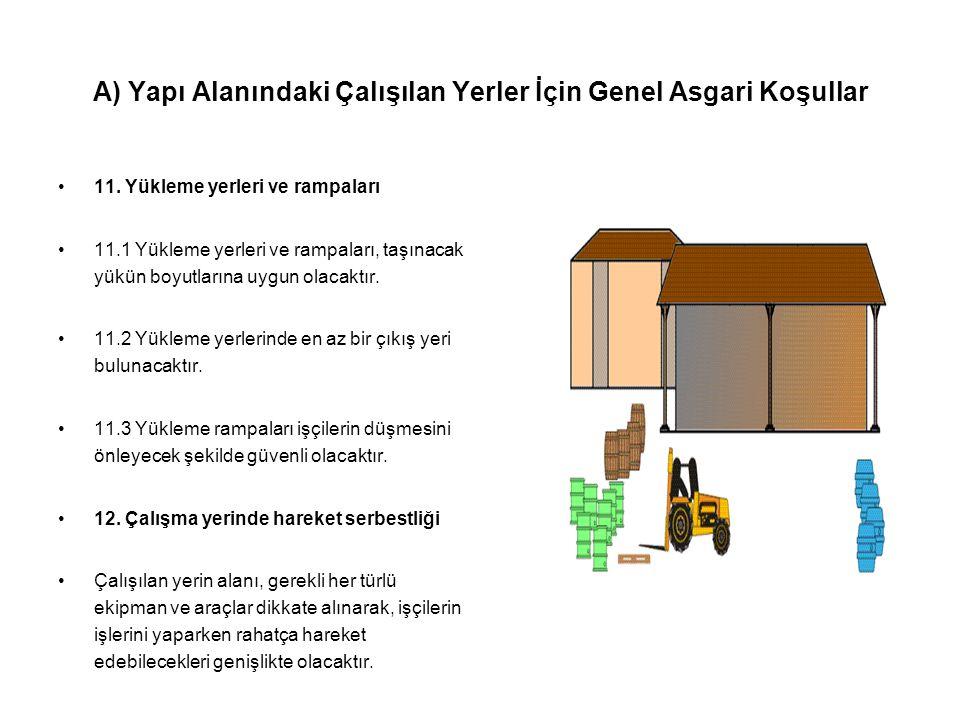 A) Yapı Alanındaki Çalışılan Yerler İçin Genel Asgari Koşullar •11. Yükleme yerleri ve rampaları •11.1 Yükleme yerleri ve rampaları, taşınacak yükün b