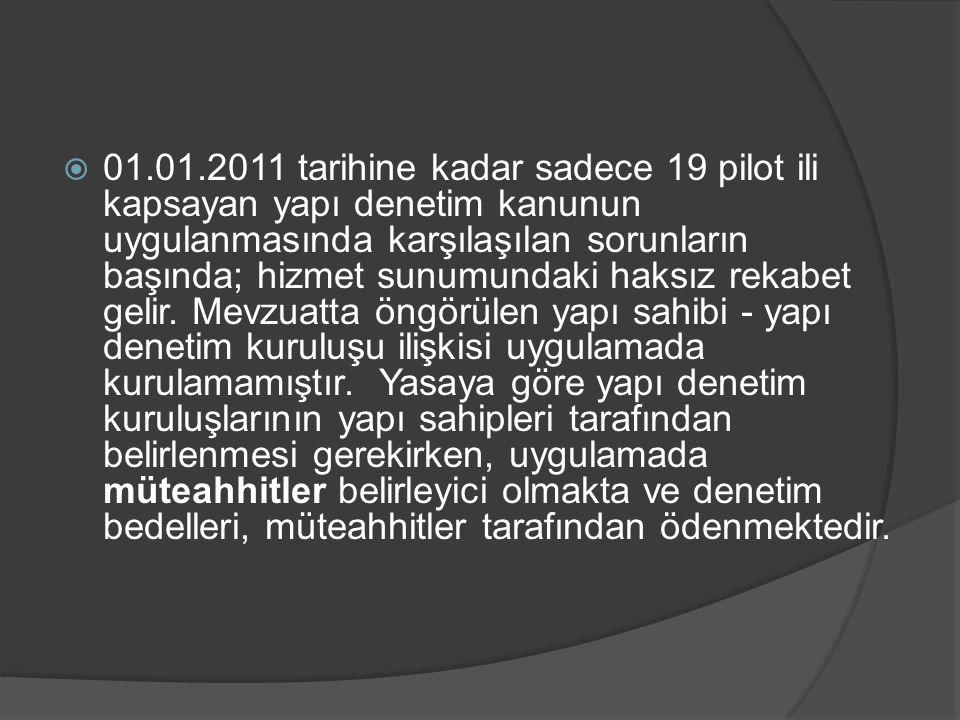  01.01.2011 tarihine kadar sadece 19 pilot ili kapsayan yapı denetim kanunun uygulanmasında karşılaşılan sorunların başında; hizmet sunumundaki haksı