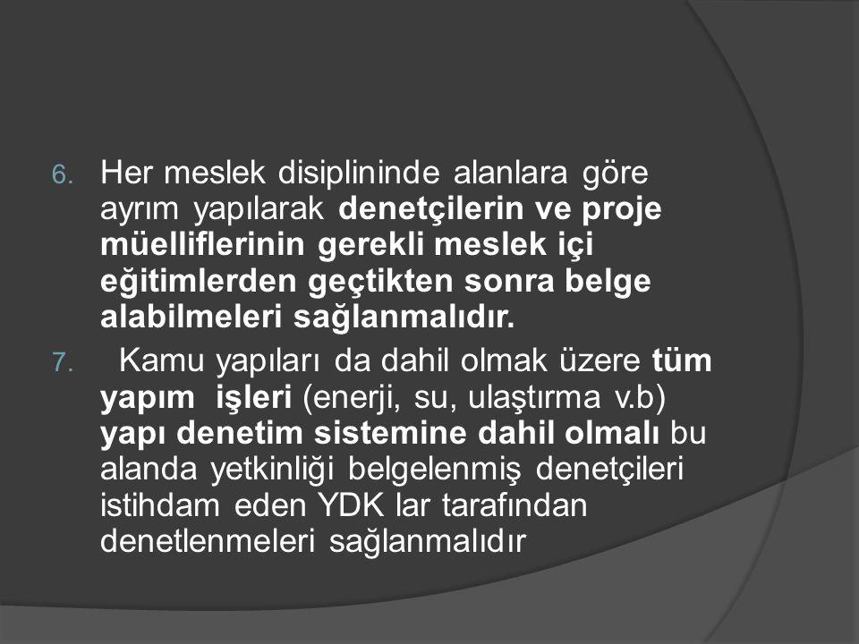 6. Her meslek disiplininde alanlara göre ayrım yapılarak denetçilerin ve proje müelliflerinin gerekli meslek içi eğitimlerden geçtikten sonra belge al