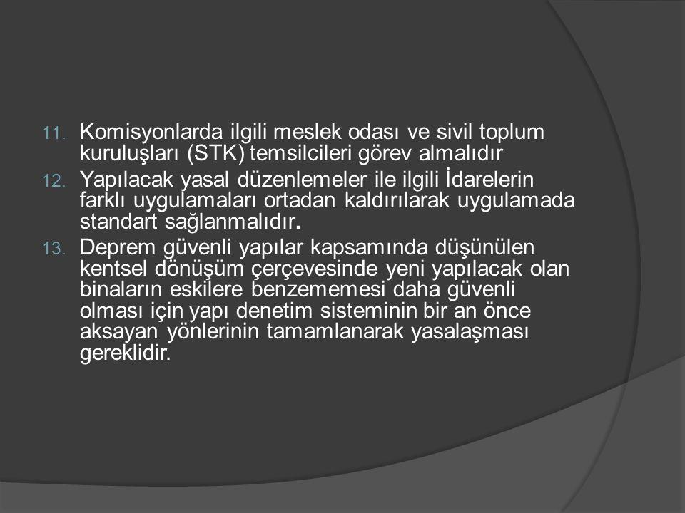 11. Komisyonlarda ilgili meslek odası ve sivil toplum kuruluşları (STK) temsilcileri görev almalıdır 12. Yapılacak yasal düzenlemeler ile ilgili İdare