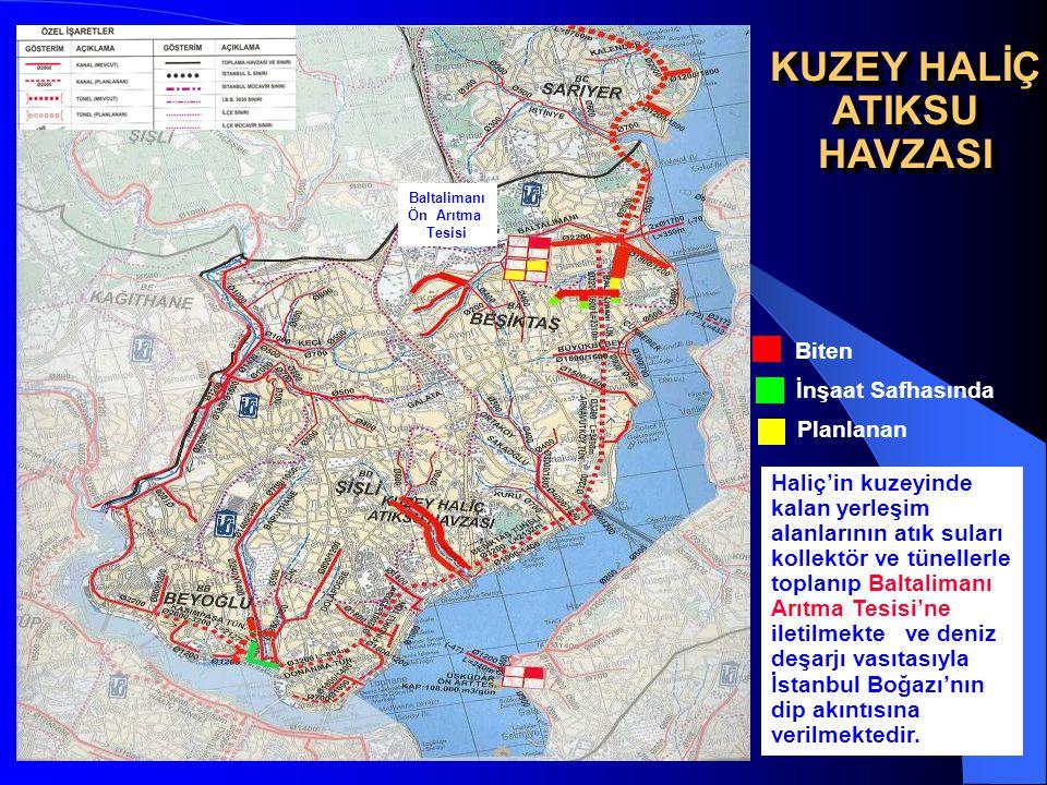 10 KUZEY HALİÇ ATIKSU HAVZASI HAVZASI İnşaat Safhasında Biten Planlanan Baltalimanı Ön Arıtma Tesisi Haliç'in kuzeyinde kalan yerleşim alanlarının atı