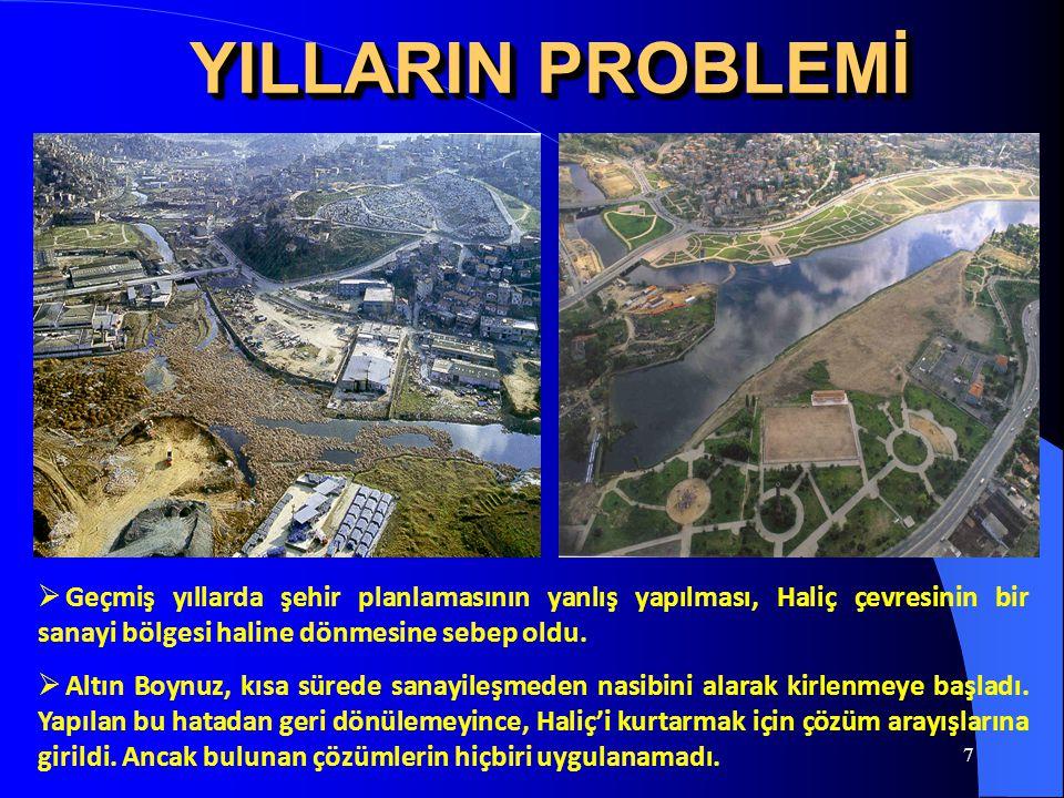 7 YILLARIN PROBLEMİ  Geçmiş yıllarda şehir planlamasının yanlış yapılması, Haliç çevresinin bir sanayi bölgesi haline dönmesine sebep oldu.  Altın B