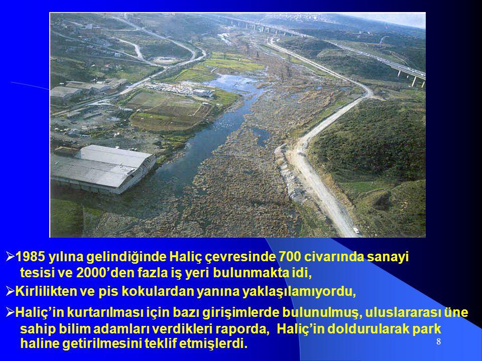 8  1985 yılına gelindiğinde Haliç çevresinde 700 civarında sanayi tesisi ve 2000'den fazla iş yeri bulunmakta idi,  Kirlilikten ve pis kokulardan ya