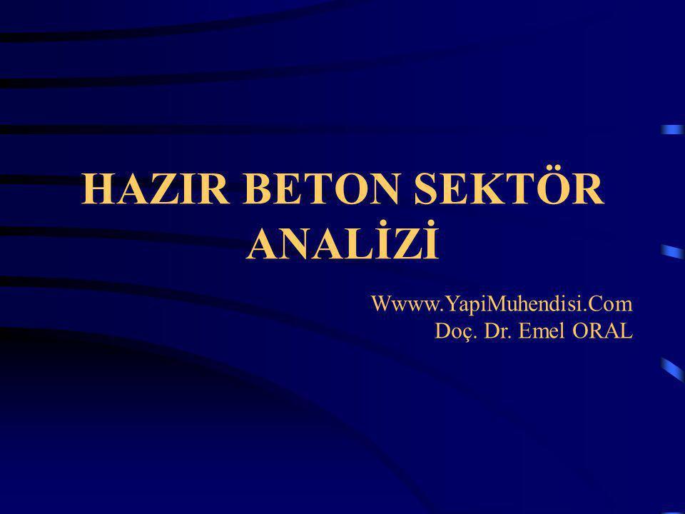 HAZIR BETON SEKTÖR ANALİZİ Wwww.YapiMuhendisi.Com Doç. Dr. Emel ORAL
