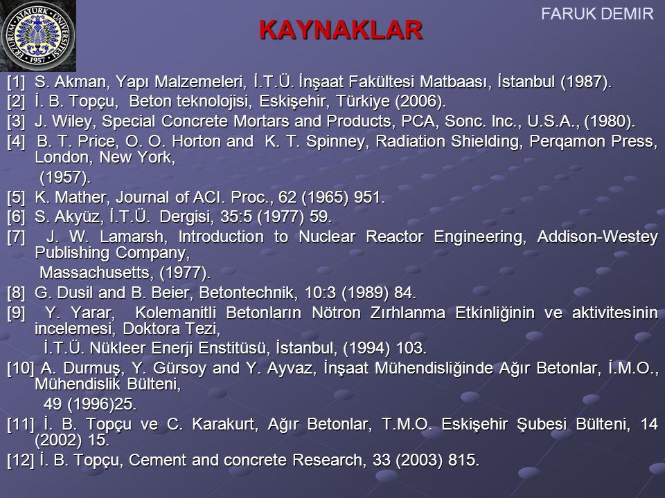 [1] S. Akman, Yapı Malzemeleri, İ.T.Ü. İnşaat Fakültesi Matbaası, İstanbul (1987). [2] İ. B. Topçu, Beton teknolojisi, Eskişehir, Türkiye (2006). [3]