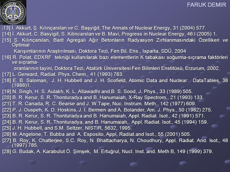 FARUK DEMIR [ 13] İ. Akkurt, Ş. Kılınçarslan ve C. Başyiğit, The Annals of Nuclear Energy, 31 (2004) 577. [14] İ. Akkurt, C. Basyigit, S. Kilincarslan