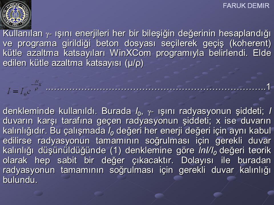 FARUK DEMIR Ağır betonlar Türk standartları dikkate alınarak hazırlanmıştır (Tablo 1).
