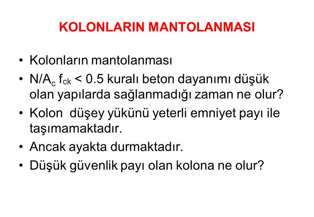 KOLONLARIN MANTOLANMASI •Kolonların mantolanması •N/A c f ck < 0.5 kuralı beton dayanımı düşük olan yapılarda sağlanmadığı zaman ne olur.