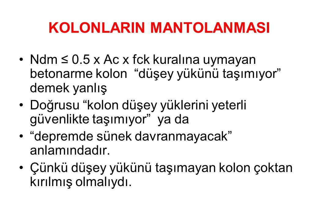 KOLONLARIN MANTOLANMASI •Ndm ≤ 0.5 x Ac x fck kuralına uymayan betonarme kolon düşey yükünü taşımıyor demek yanlış •Doğrusu kolon düşey yüklerini yeterli güvenlikte taşımıyor ya da • depremde sünek davranmayacak anlamındadır.