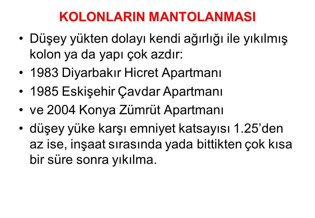 KOLONLARIN MANTOLANMASI •Düşey yükten dolayı kendi ağırlığı ile yıkılmış kolon ya da yapı çok azdır: •1983 Diyarbakır Hicret Apartmanı •1985 Eskişehir