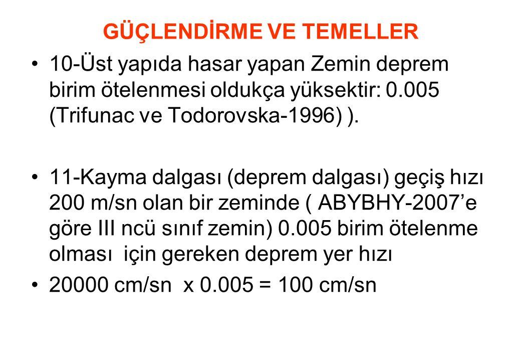 GÜÇLENDİRME VE TEMELLER •10-Üst yapıda hasar yapan Zemin deprem birim ötelenmesi oldukça yüksektir: 0.005 (Trifunac ve Todorovska-1996) ). •11-Kayma d