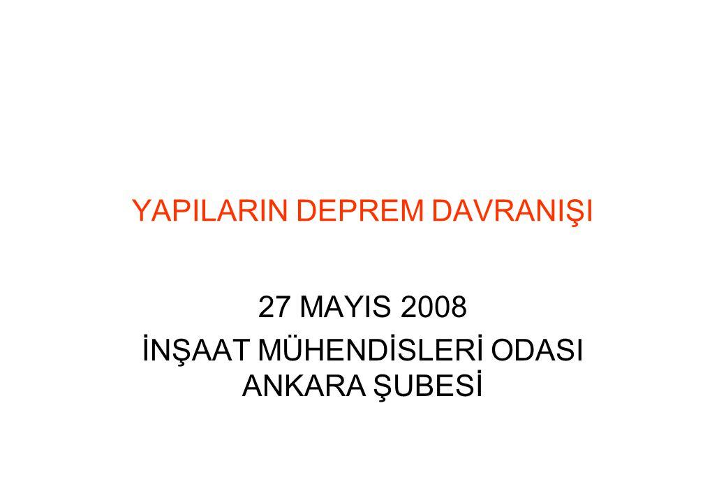 YAPILARIN DEPREM DAVRANIŞI 27 MAYIS 2008 İNŞAAT MÜHENDİSLERİ ODASI ANKARA ŞUBESİ