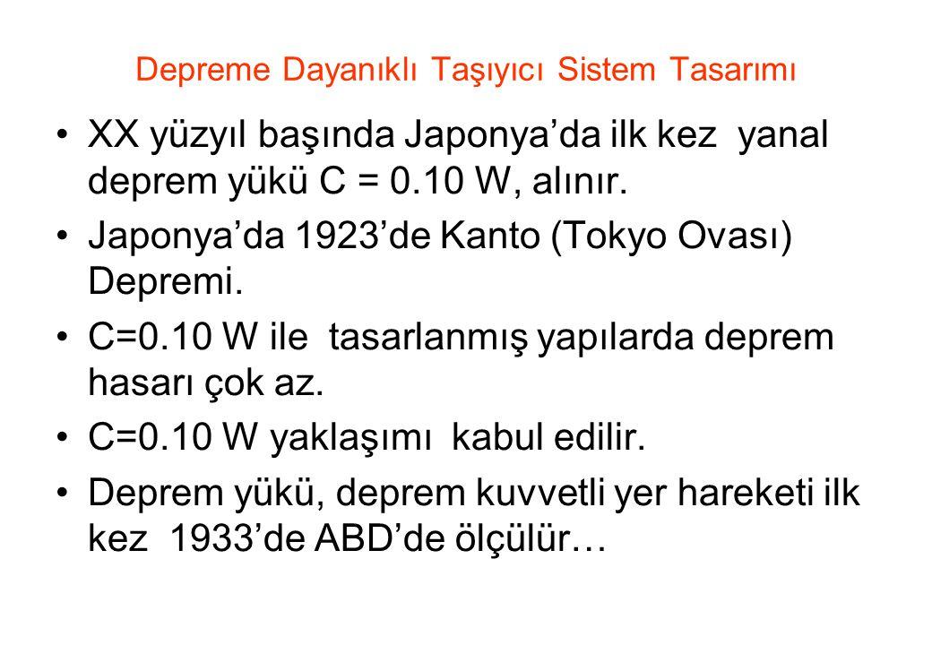 Depreme Dayanıklı Taşıyıcı Sistem Tasarımı •XX yüzyıl başında Japonya'da ilk kez yanal deprem yükü C = 0.10 W, alınır.