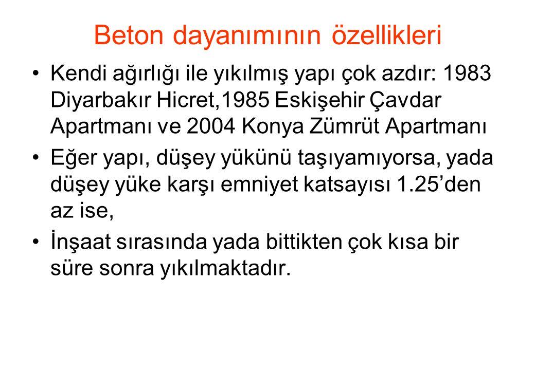 •Kendi ağırlığı ile yıkılmış yapı çok azdır: 1983 Diyarbakır Hicret,1985 Eskişehir Çavdar Apartmanı ve 2004 Konya Zümrüt Apartmanı •Eğer yapı, düşey yükünü taşıyamıyorsa, yada düşey yüke karşı emniyet katsayısı 1.25'den az ise, •İnşaat sırasında yada bittikten çok kısa bir süre sonra yıkılmaktadır.