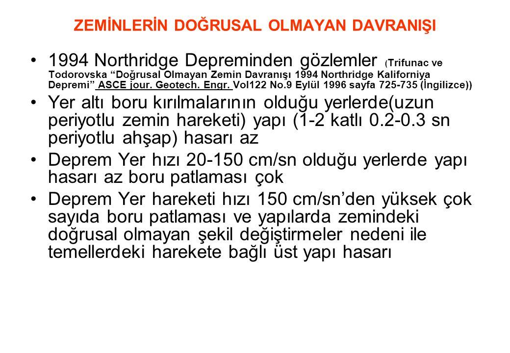 """ZEMİNLERİN DOĞRUSAL OLMAYAN DAVRANIŞI •1994 Northridge Depreminden gözlemler ( Trifunac ve Todorovska """"Doğrusal Olmayan Zemin Davranışı 1994 Northridg"""