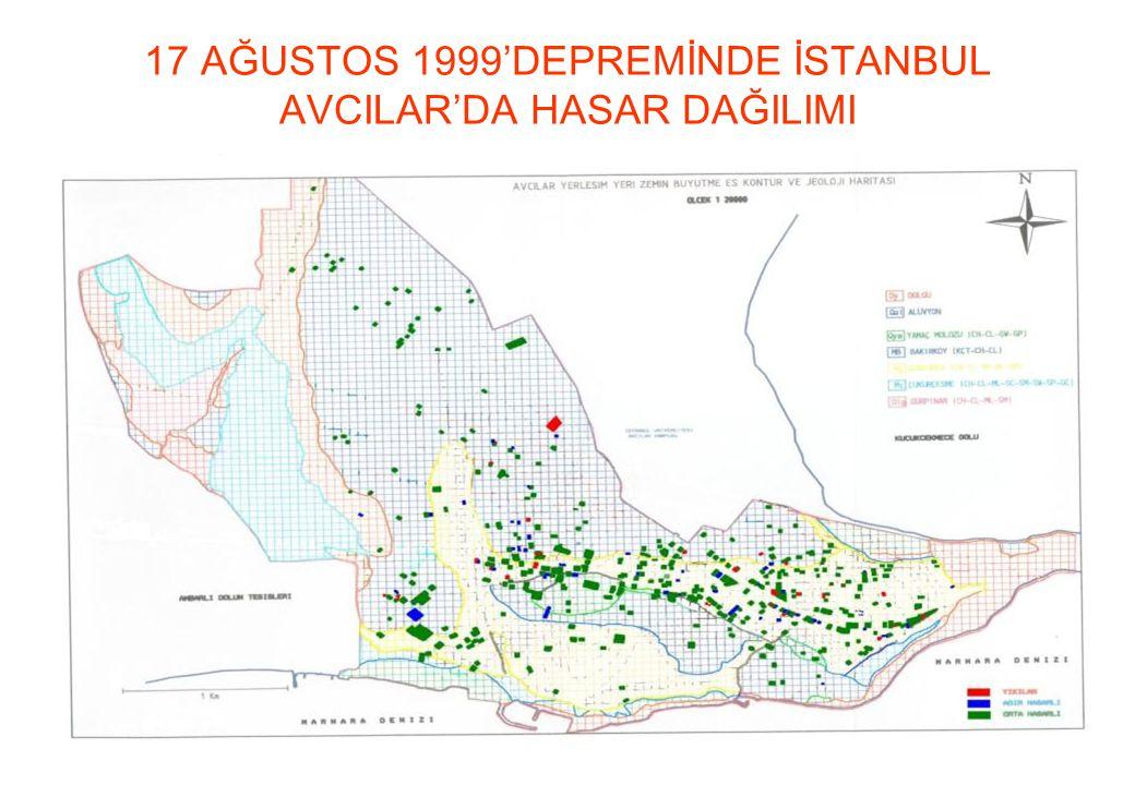 17 AĞUSTOS 1999'DEPREMİNDE İSTANBUL AVCILAR'DA HASAR DAĞILIMI