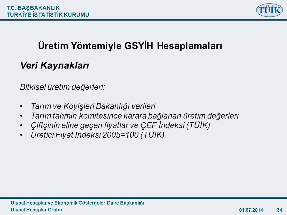 T.C. BAŞBAKANLIK TÜRKİYE İSTATİSTİK KURUMU 01.07.201434 TÜİK Veri Kaynakları Bitkisel üretim değerleri: •Tarım ve Köyişleri Bakanlığı verileri •Tarım