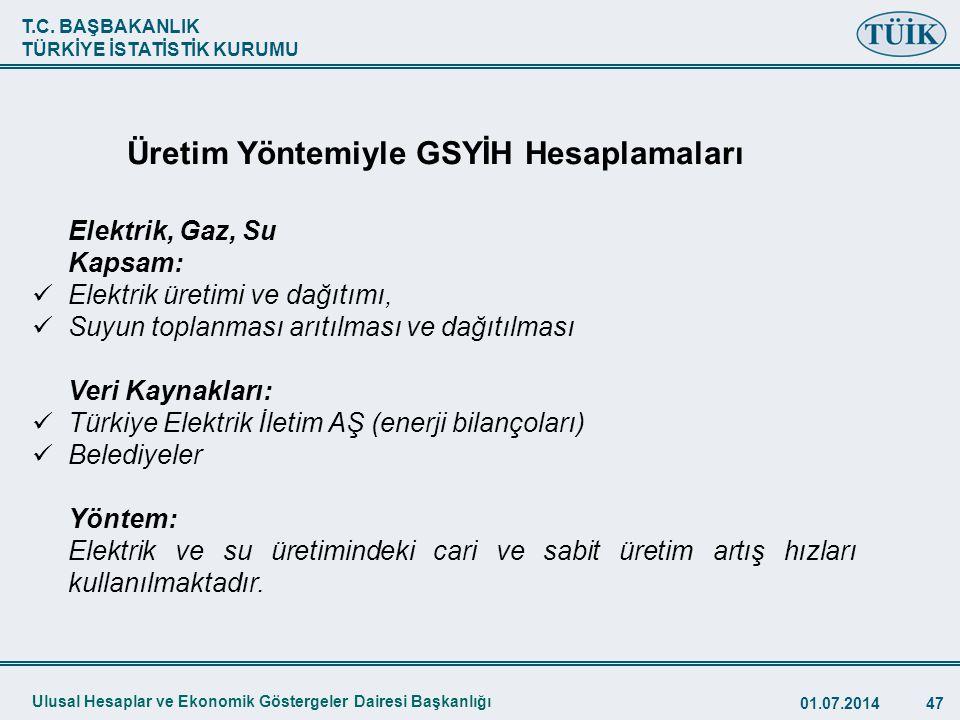 T.C. BAŞBAKANLIK TÜRKİYE İSTATİSTİK KURUMU 01.07.201447 TÜİK Elektrik, Gaz, Su Kapsam:  Elektrik üretimi ve dağıtımı,  Suyun toplanması arıtılması v