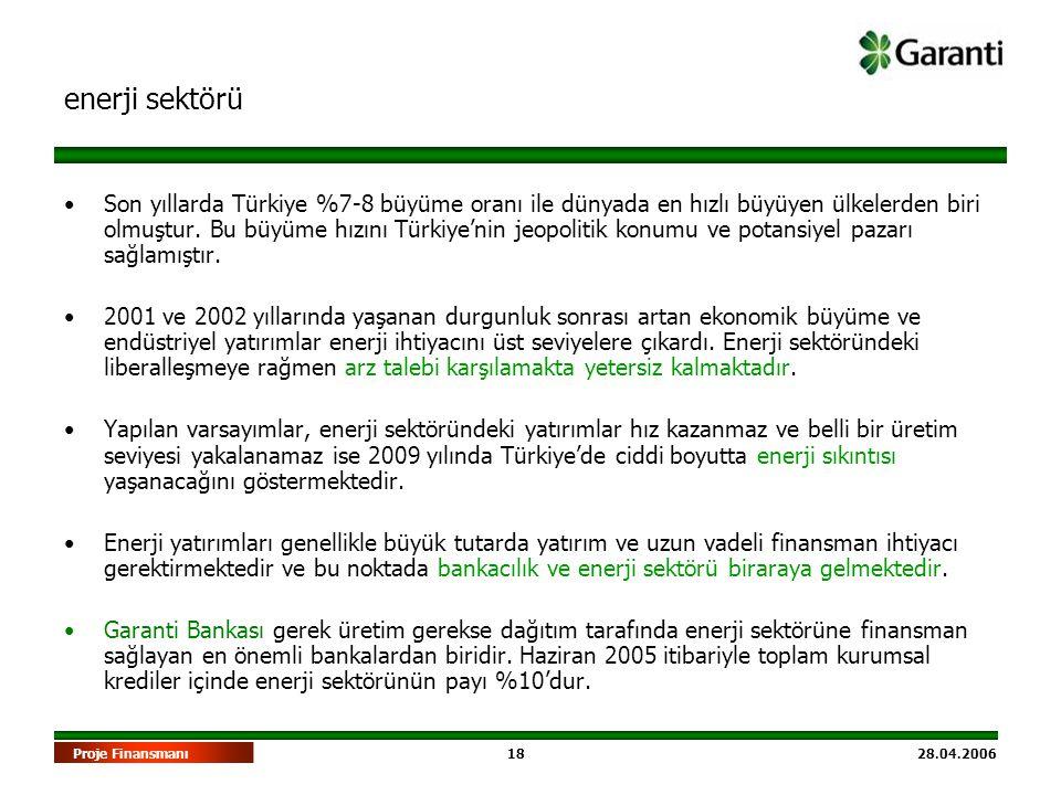18 28.04.2006Proje Finansmanı enerji sektörü •Son yıllarda Türkiye %7-8 büyüme oranı ile dünyada en hızlı büyüyen ülkelerden biri olmuştur. Bu büyüme