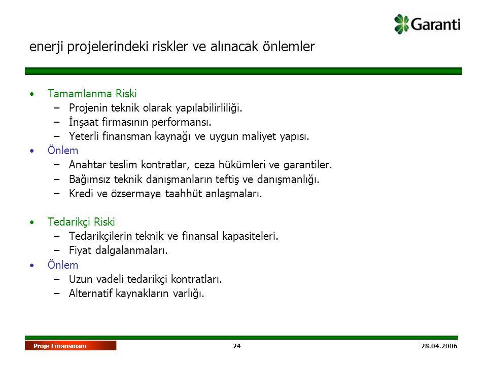 24 28.04.2006Proje Finansmanı •Tamamlanma Riski –Projenin teknik olarak yapılabilirliliği. –İnşaat firmasının performansı. –Yeterli finansman kaynağı