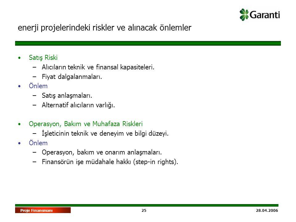 25 28.04.2006Proje Finansmanı •Satış Riski –Alıcıların teknik ve finansal kapasiteleri. –Fiyat dalgalanmaları. •Önlem –Satış anlaşmaları. –Alternatif