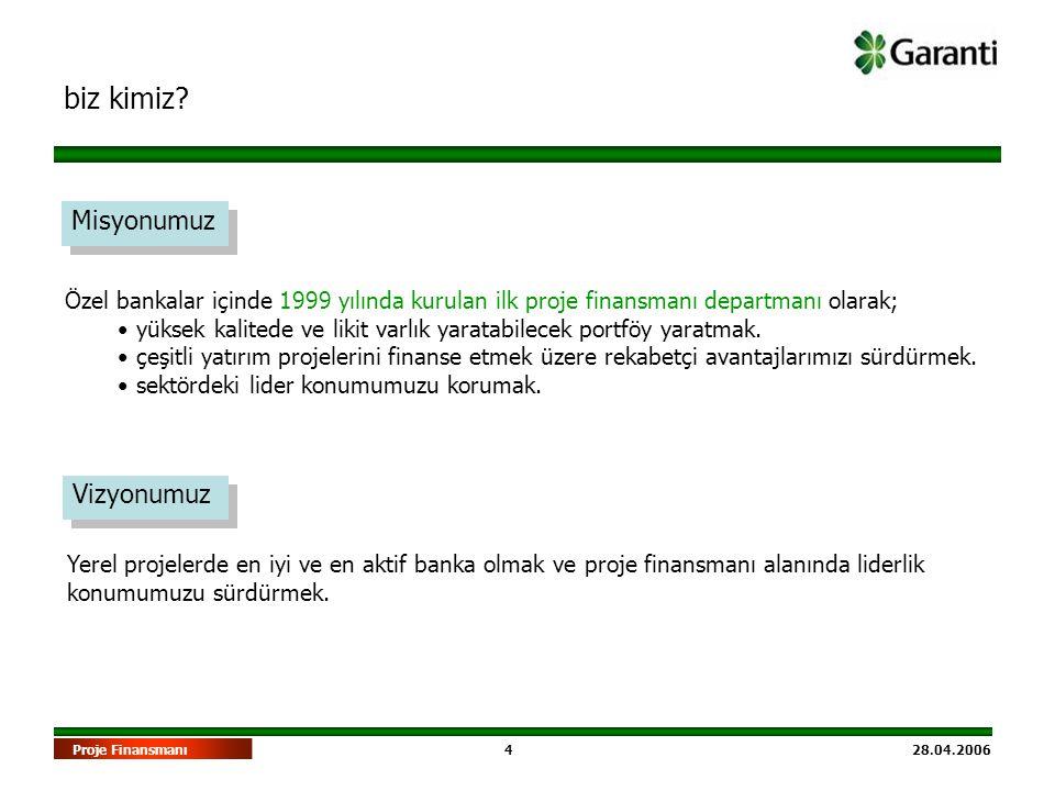 4 28.04.2006Proje Finansmanı biz kimiz? Misyonumuz Özel bankalar içinde 1999 yılında kurulan ilk proje finansmanı departmanı olarak; • yüksek kalitede