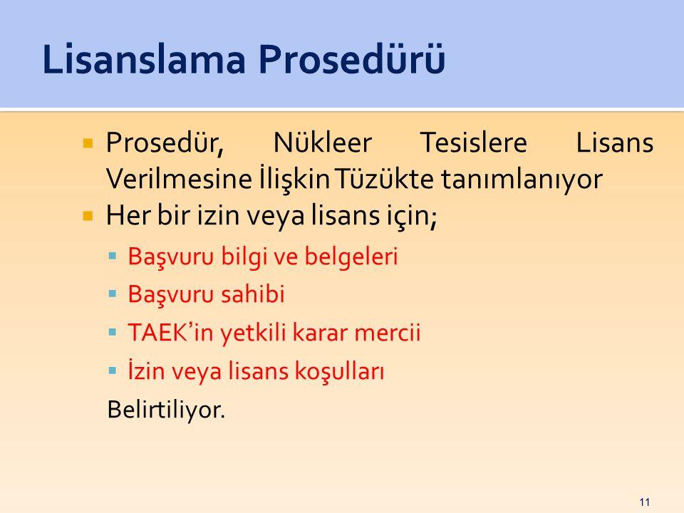 11  Prosedür, Nükleer Tesislere Lisans Verilmesine İlişkin Tüzükte tanımlanıyor  Her bir izin veya lisans için;  Başvuru bilgi ve belgeleri  Başvuru sahibi  TAEK'in yetkili karar mercii  İzin veya lisans koşulları Belirtiliyor.