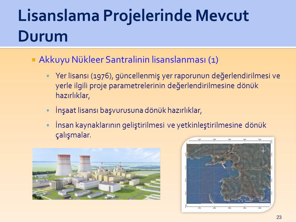 23  Akkuyu Nükleer Santralinin lisanslanması (1) • Yer lisansı (1976), güncellenmiş yer raporunun değerlendirilmesi ve yerle ilgili proje parametrelerinin değerlendirilmesine dönük hazırlıklar, • İnşaat lisansı başvurusuna dönük hazırlıklar, • İnsan kaynaklarının geliştirilmesi ve yetkinleştirilmesine dönük çalışmalar.