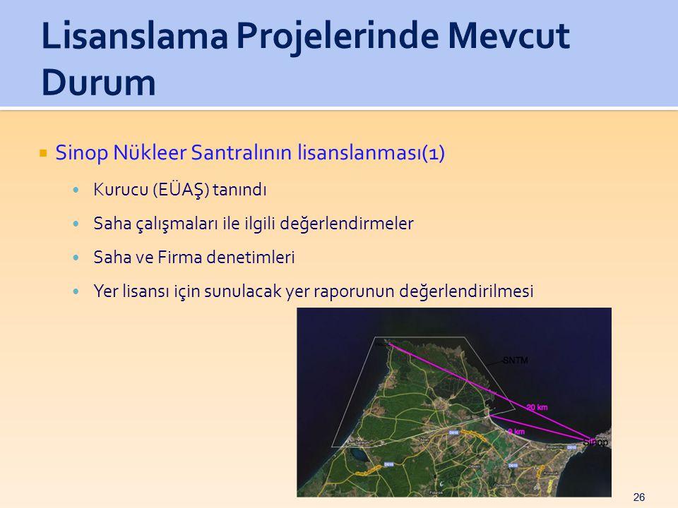 26  Sinop Nükleer Santralının lisanslanması(1) • Kurucu (EÜAŞ) tanındı • Saha çalışmaları ile ilgili değerlendirmeler • Saha ve Firma denetimleri • Yer lisansı için sunulacak yer raporunun değerlendirilmesi