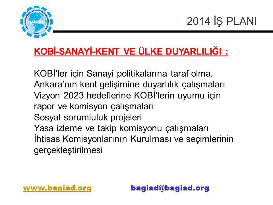 2014 İŞ PLANI KOBİ-SANAYİ-KENT VE ÜLKE DUYARLILIĞI : KOBİ'ler için Sanayi politikalarına taraf olma. Ankara'nın kent gelişimine duyarlılık çalışmaları