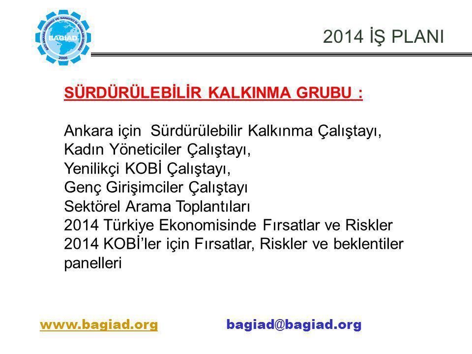 2014 İŞ PLANI SÜRDÜRÜLEBİLİR KALKINMA GRUBU : Ankara için Sürdürülebilir Kalkınma Çalıştayı, Kadın Yöneticiler Çalıştayı, Yenilikçi KOBİ Çalıştayı, Ge