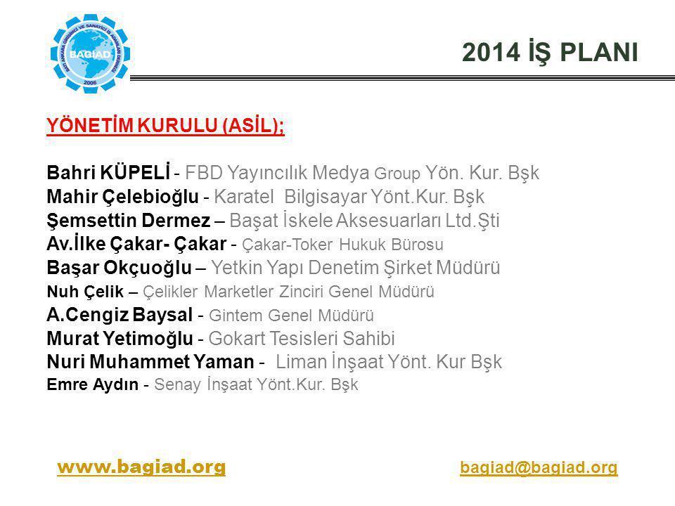 2014 İŞ PLANI SÜRDÜRÜLEBİLİR KALKINMA GRUBU : Ankara için Sürdürülebilir Kalkınma Çalıştayı, Kadın Yöneticiler Çalıştayı, Yenilikçi KOBİ Çalıştayı, Genç Girişimciler Çalıştayı Sektörel Arama Toplantıları 2014 Türkiye Ekonomisinde Fırsatlar ve Riskler 2014 KOBİ'ler için Fırsatlar, Riskler ve beklentiler panelleri www.bagiad.orgwww.bagiad.org bagiad@bagiad.org