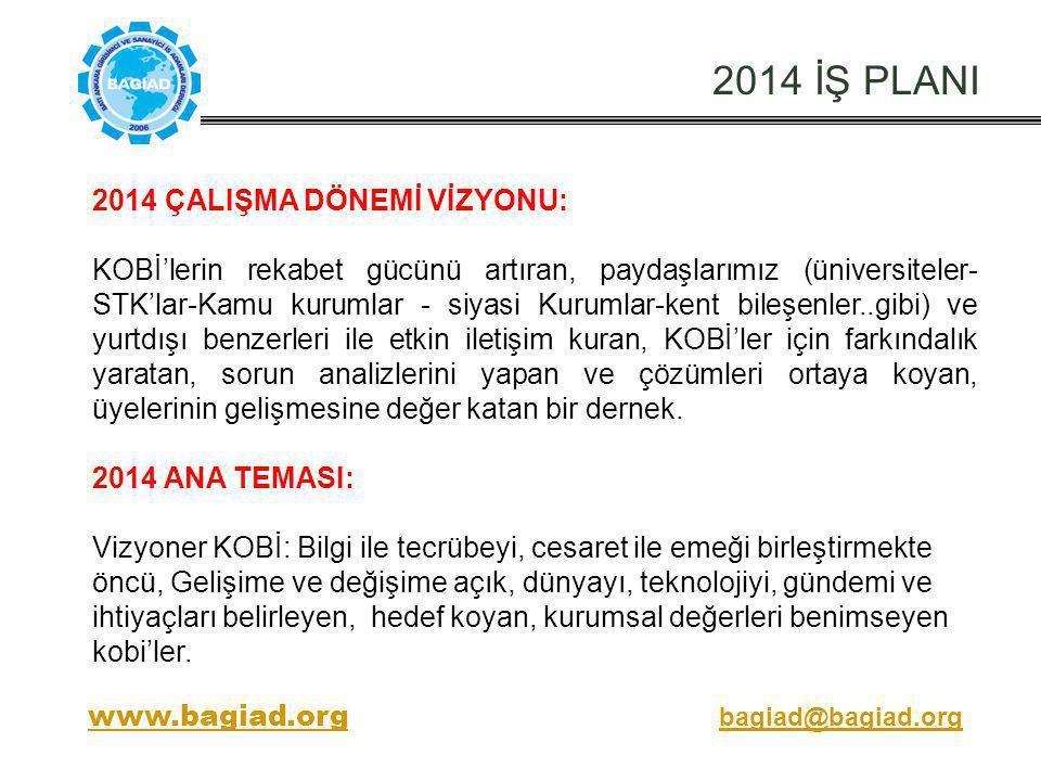 2014 İŞ PLANI 2014 ÇALIŞMA DÖNEMİ VİZYONU: KOBİ'lerin rekabet gücünü artıran, paydaşlarımız (üniversiteler- STK'lar-Kamu kurumlar - siyasi Kurumlar-ke