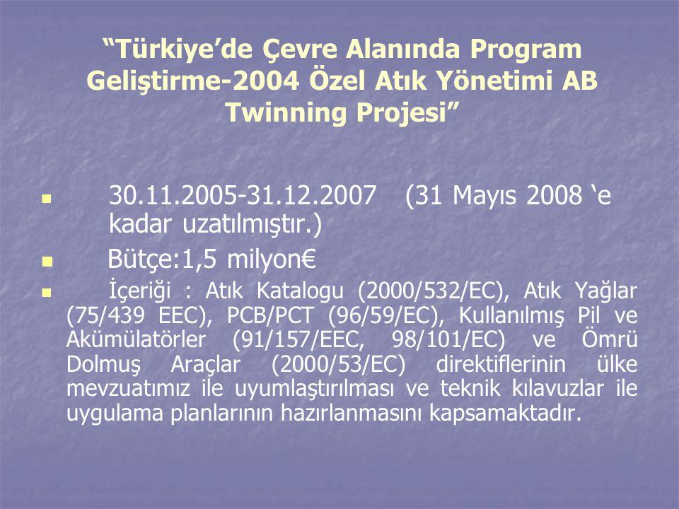"""""""Türkiye'de Çevre Alanında Program Geliştirme-2004 Özel Atık Yönetimi AB Twinning Projesi""""   30.11.2005-31.12.2007 (31 Mayıs 2008 'e kadar uzatılmış"""