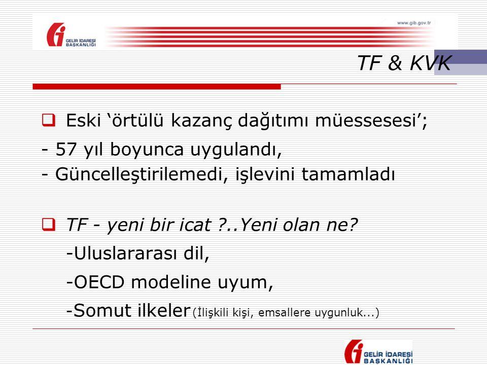 TF & KVK  Eski 'örtülü kazanç dağıtımı müessesesi'; - 57 yıl boyunca uygulandı, - Güncelleştirilemedi, işlevini tamamladı  TF - yeni bir icat ?..Yen