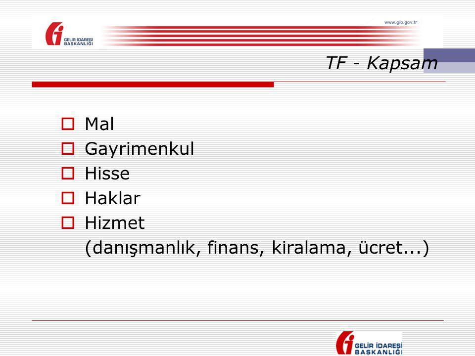 TF - Kapsam  Mal  Gayrimenkul  Hisse  Haklar  Hizmet (danışmanlık, finans, kiralama, ücret...)