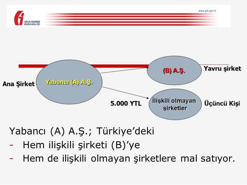 Yabancı (A) A.Ş.; Türkiye'deki -Hem ilişkili şirketi (B)'ye -Hem de ilişkili olmayan şirketlere mal satıyor. Yabancı (A) A.Ş. (B) A.Ş. İlişkili olmaya