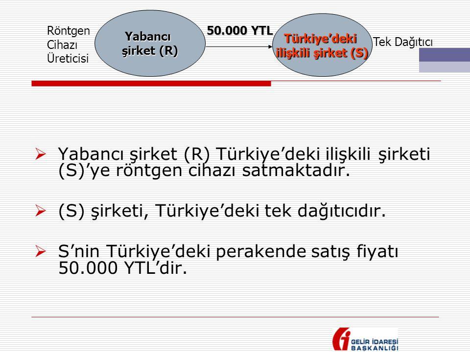  Yabancı şirket (R) Türkiye'deki ilişkili şirketi (S)'ye röntgen cihazı satmaktadır.  (S) şirketi, Türkiye'deki tek dağıtıcıdır.  S'nin Türkiye'dek