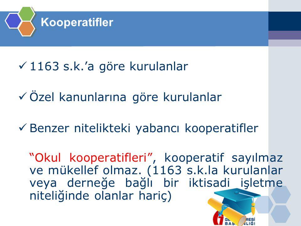 """Kooperatifler  1163 s.k.'a göre kurulanlar  Özel kanunlarına göre kurulanlar  Benzer nitelikteki yabancı kooperatifler """"Okul kooperatifleri"""", koope"""