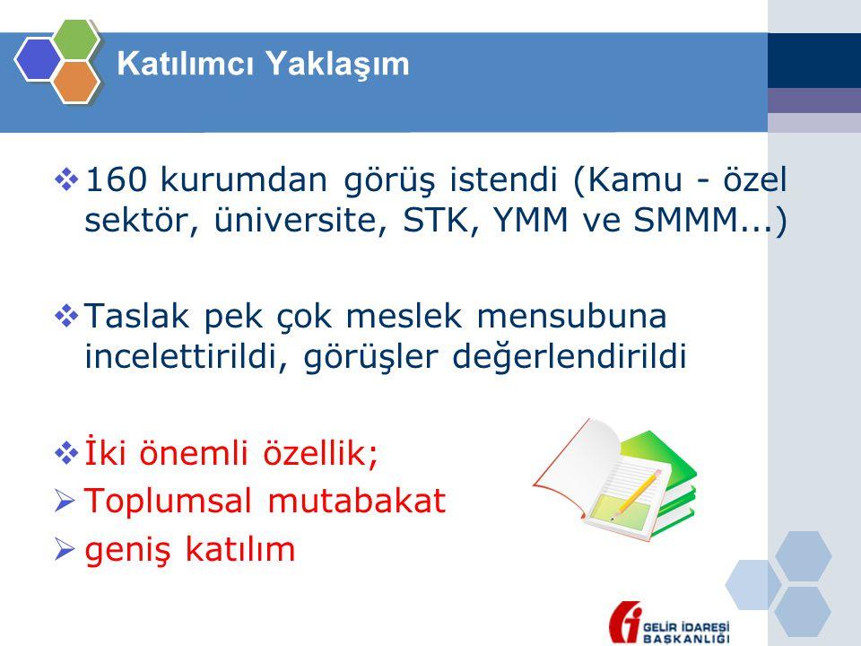 Katılımcı Yaklaşım  160 kurumdan görüş istendi (Kamu - özel sektör, üniversite, STK, YMM ve SMMM...)  Taslak pek çok meslek mensubuna incelettirildi